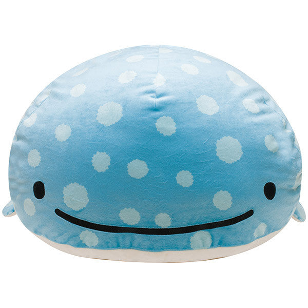 Jinbei San Whale Shark BIG Super Soft Round Cushion Root Kelp San-X Japan