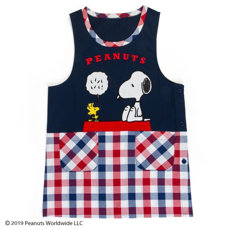 Snoopy Apron Plaid Peanuts Sanrio Japan