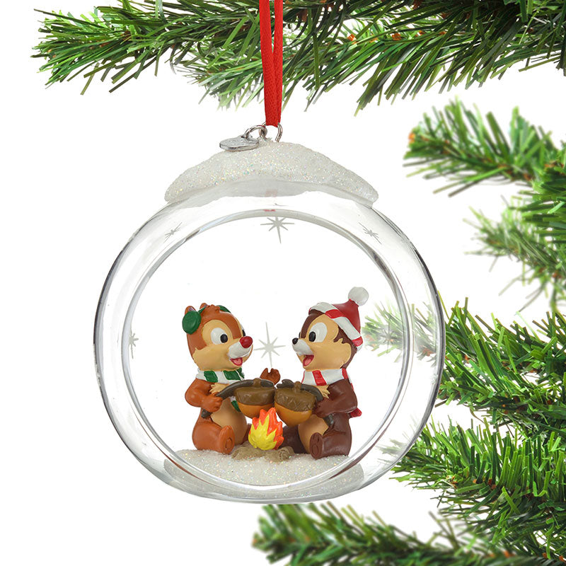Chip & Dale Christmas Tree Ornament Glass Ball Disney Store Japan 2019