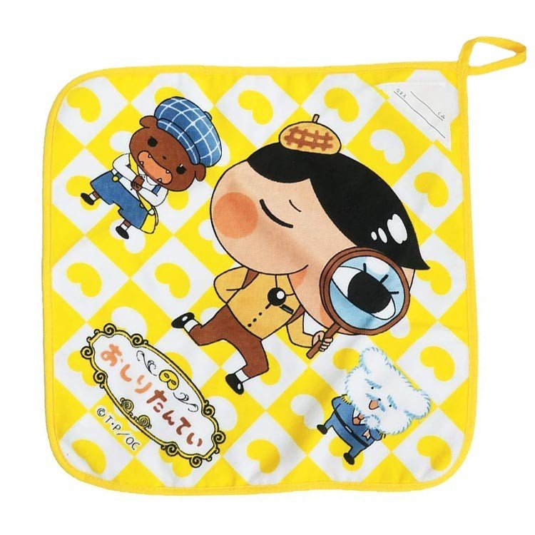 Oshiritantei Butt Detective Hand Towel with Loop Yellow Japan