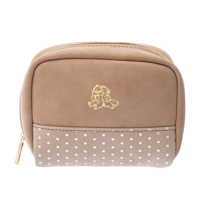 Chip & Dale Pouch Khaki Color Suede Disney Store Japan
