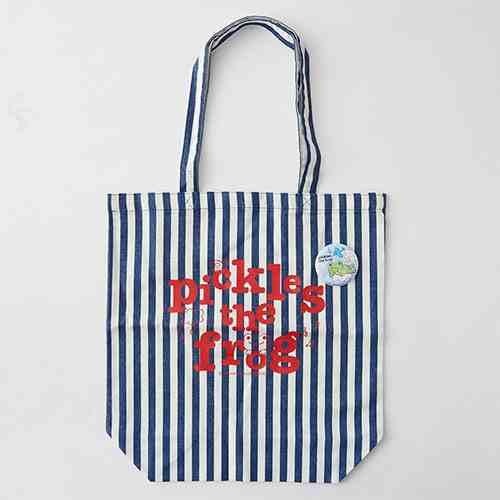 Pickles the Frog Tote Bag Stripe w/ Can Badge Japan P0096