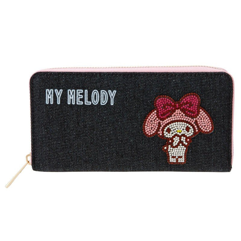 My Melody Denim Zipper Long Wallet Glitter Sanrio Japan