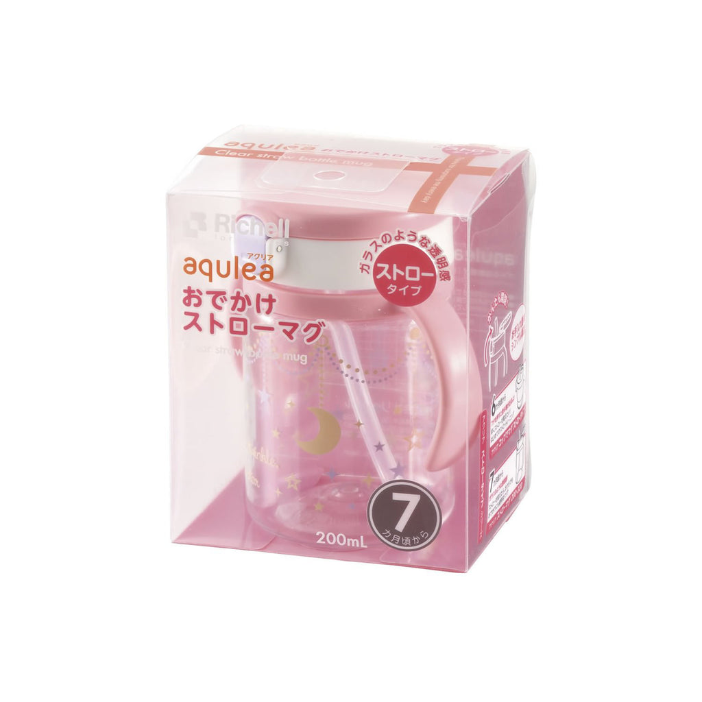 Aqulea Straw Mug Cup 320ml Pink Richell Baby Japan