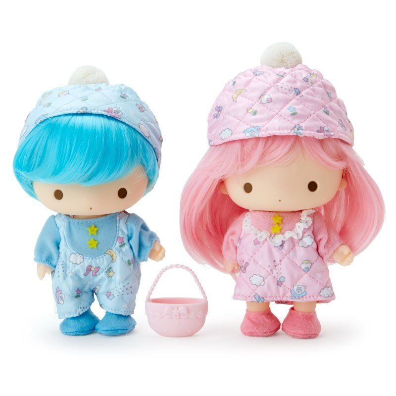 Little Twin Stars Kiki Lala Pretend Play Soft PVC Doll Set Quilt Sanrio Japan