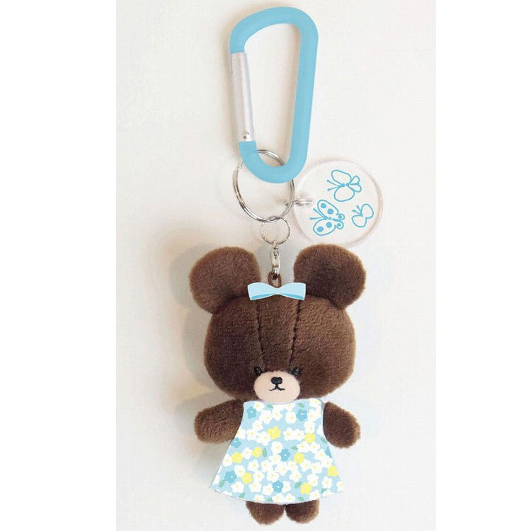Jackie Plush Mascot Keychain Carabiner Blue Flower the bears' school Japan