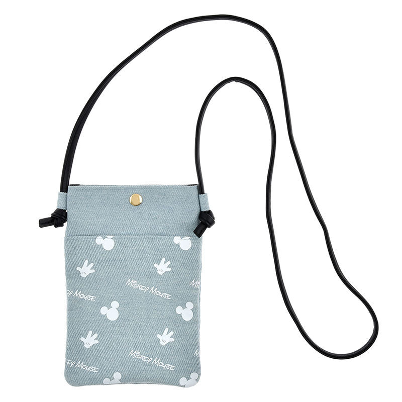 Mickey Denim Smartphone Pochette Bag Light Blue D.I.Wow! Disney Store Japan