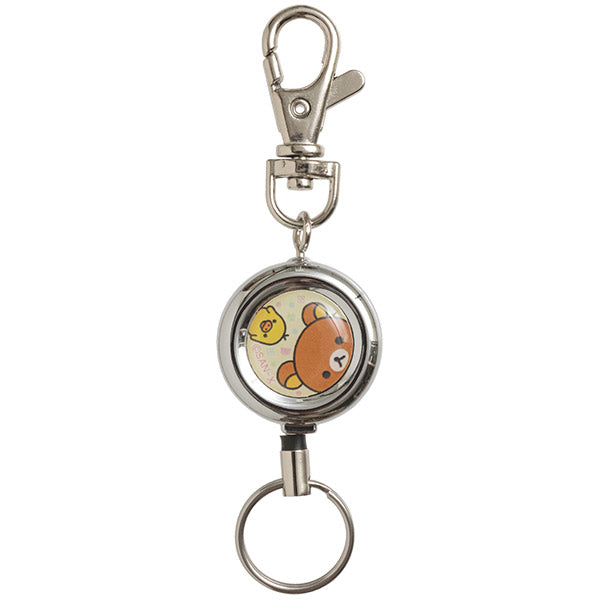 Rilakkuma & Kiiroitori Yellow Chick Reel Keychain Key Holder A San-X Japan