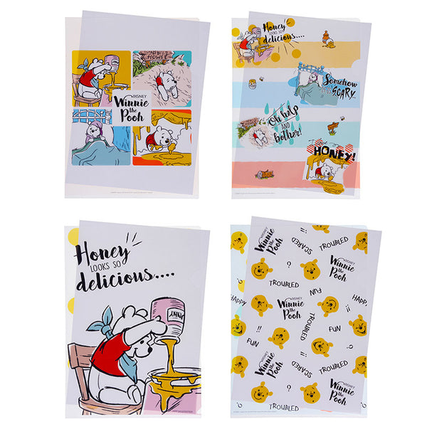 Winnie the Pooh Clear File Folder 4pcs Set Color of Pooh Disney Store Japan
