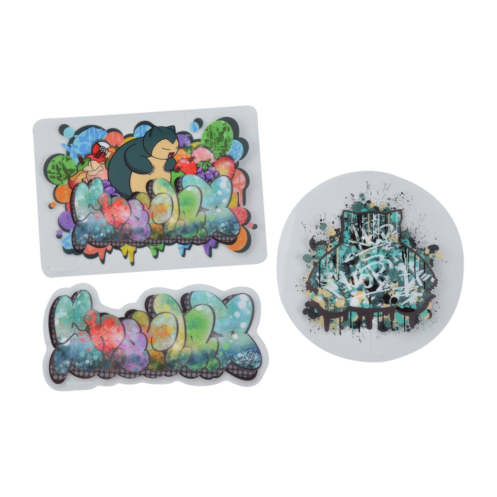 Snorlax Kabigon Sticker 3pcs Set Pokemon Center SHIBUYA Graffiti Art Japan