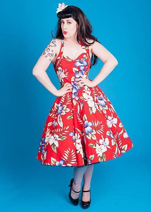 Red Hawaiian Print Dress