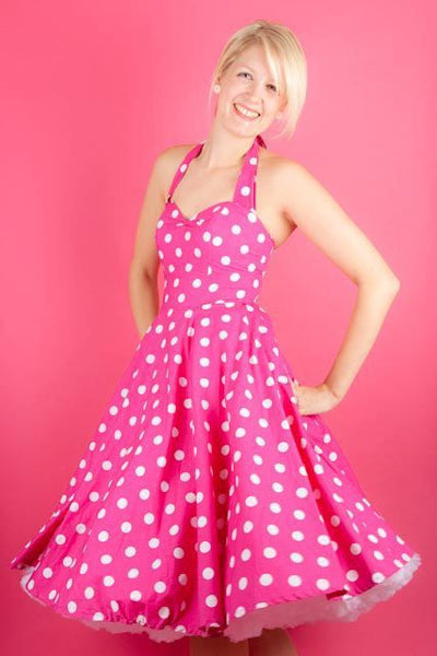 Pink and White Polka Dot Dress