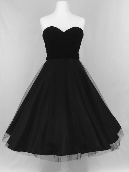 Black Velvet, Tulle & Satin Party Dress