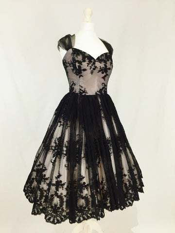Black Lace and Blush Satin Evening Dress