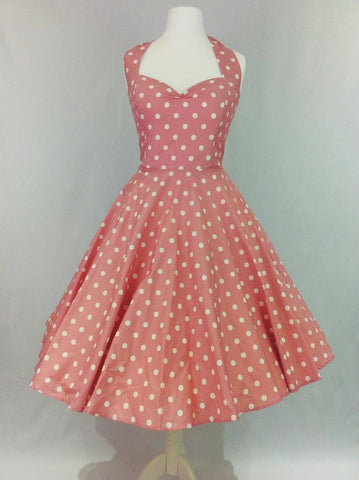 Dusky Pink Polka Dot Dress