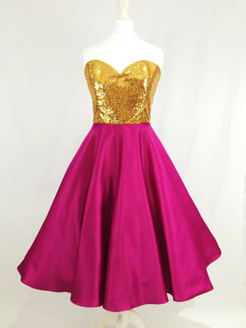 Gold Sequin and Pink Satin Dress