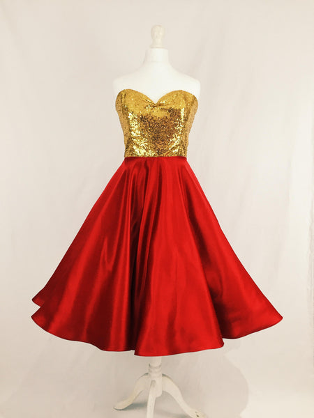 Gold Sequin and Red Satin Dress