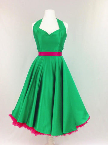 Emerald Green Satin Dress