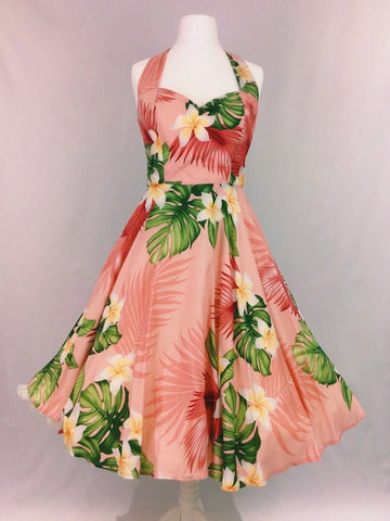 Coral Hawaiian Print Dress