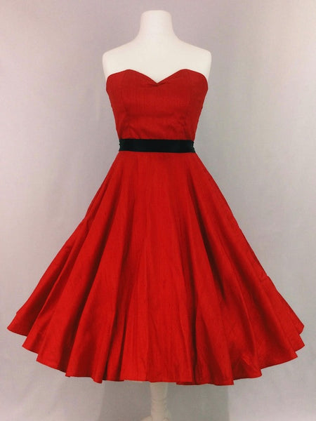 Red Raw Silk Dress