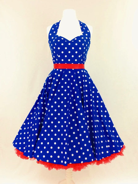 Royal Blue Polka Dot Dress