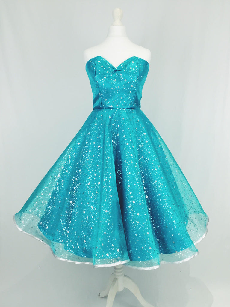 Turquoise Oranza and Satin Dress with Silver Glitter Stars – Oh My Honey