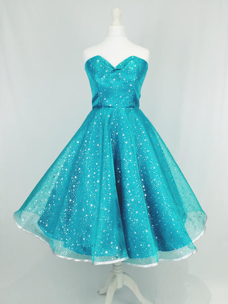 Turquoise Oranza and Satin Dress with Silver Glitter Stars