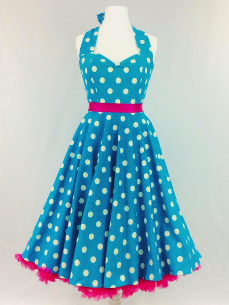 Turquoise and White Polka Dot Dress