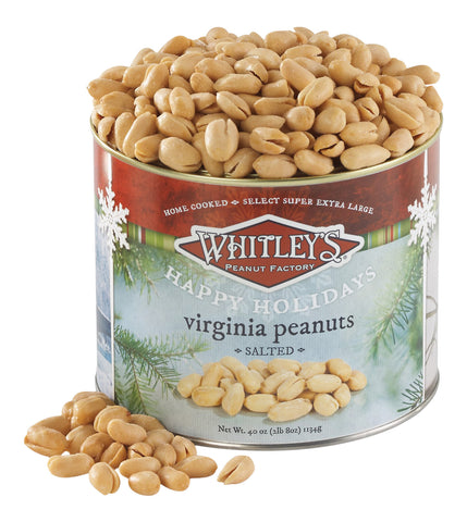 Whitley's Happy Holidays Label Home Cooked Salted Virginia Peanuts 40 Oz.Tin