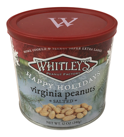 Whitley's Happy Holidays Label Home Cooked Salted Virginia Peanuts 12 Oz. Tin
