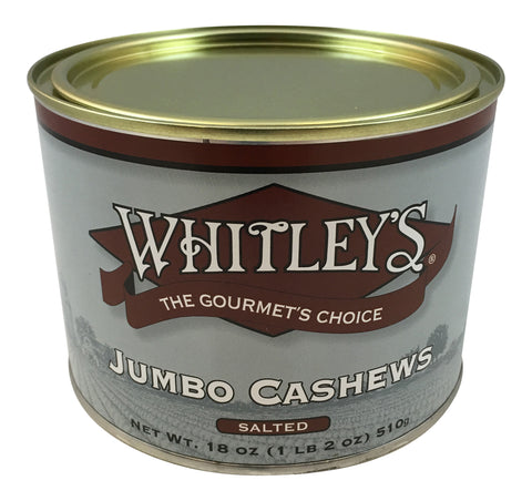 Whitley's Jumbo Cashews Salted 18 Oz.