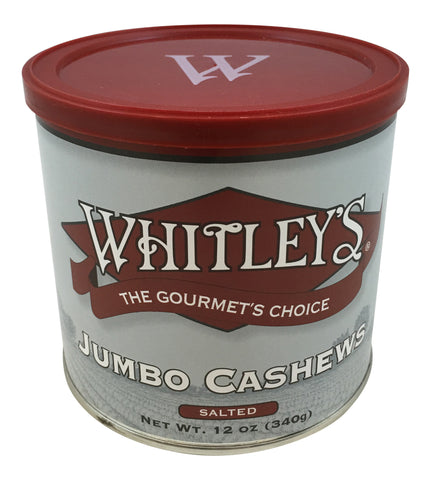 Whitley's Jumbo Cashews Salted 12 Oz.