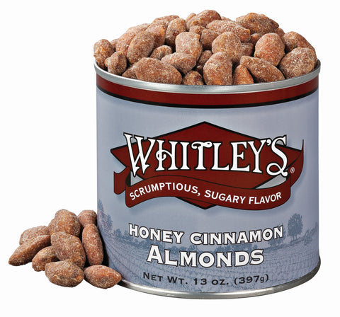 Whitley's Honey Cinnamon Almonds 13 Ounce Tin
