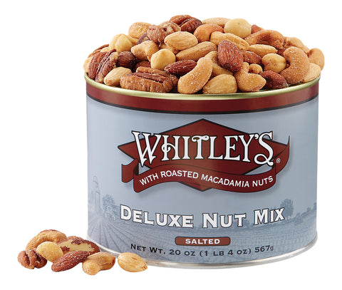 Whitley's Deluxe Nut Mix Salted with Roasted Macadamia Nuts 20 Oz