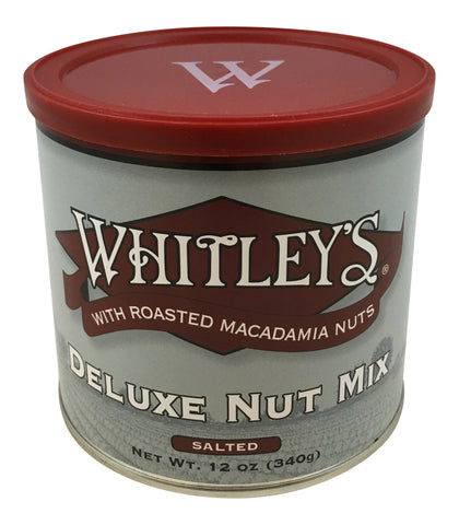 Whitley's Deluxe Nut Mix Salted with Roasted Macadamia Nuts 12 Oz