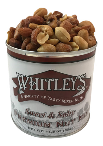 Whitley's Sweet & Salty Premium Nut Mix 11.5 Oz Tin