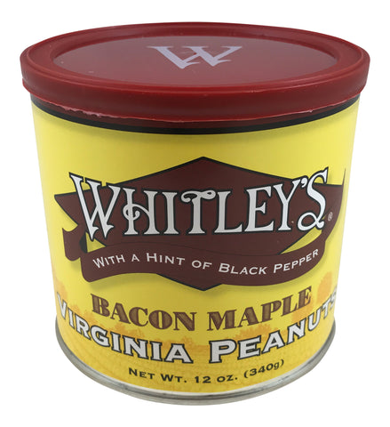 Whitley's Bacon Maple Virginia Peanuts 12 Oz Tin