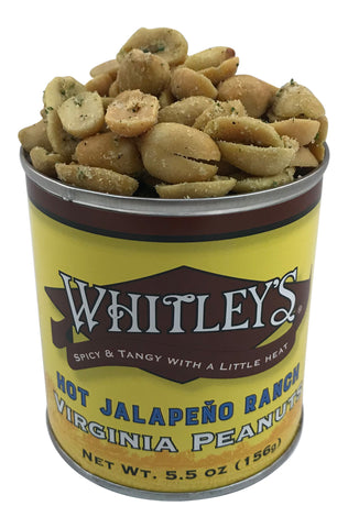 Whitley's Hot Jalapeño Ranch Virginia Peanuts 5.5 Oz Tin