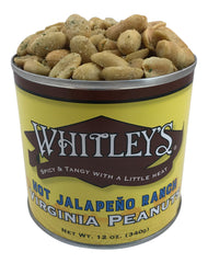 Whitley's Hot Jalapeño Ranch Virginia Peanuts 12 Oz Tin