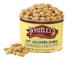 Whitley's Hot Jalapeño Ranch Virginia Peanuts 20 Oz Tin