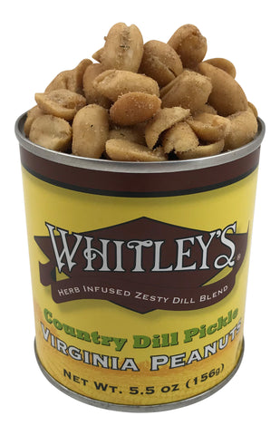 Whitley's Country Dill Pickle Virginia Peanuts 5.5 Oz Tin