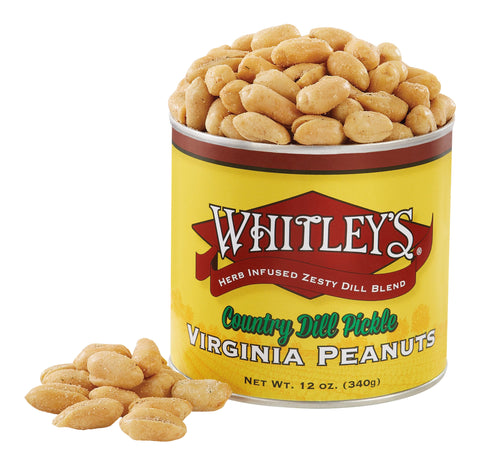 Whitley's Country Dill Pickle Virginia Peanuts 12 Oz Tin