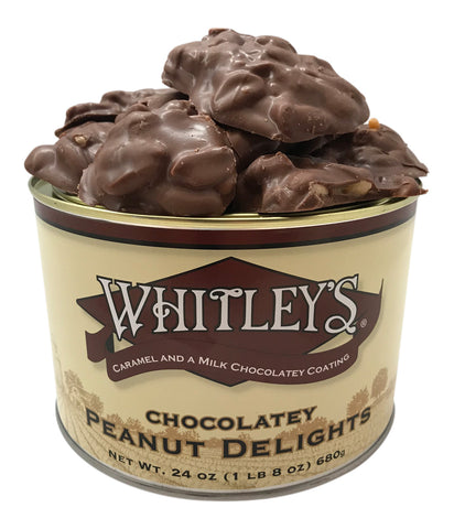 Whitley's Milk Chocolatey Peanut Delights made with Caramel 24 Ounce Tin