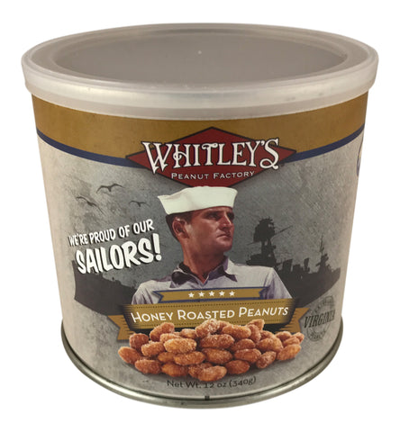 Whitley's We're Proud of Our Sailors! Honey Roasted Peanuts 12 Oz Tin