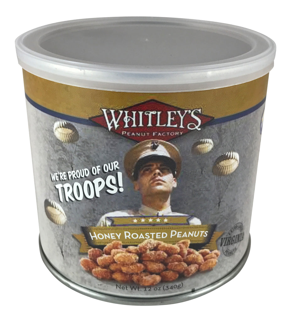 Whitley's We're Proud of Our Troops! Honey Roasted Peanuts 12 Oz Tin