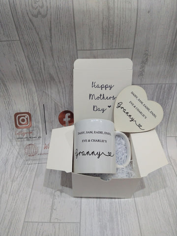 Personalised Coaster and Mug set/ Personalised Mother's Day Mug/ Personalised Grandparent Gift