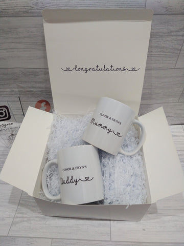 Personalised New Mum and Dad mug set