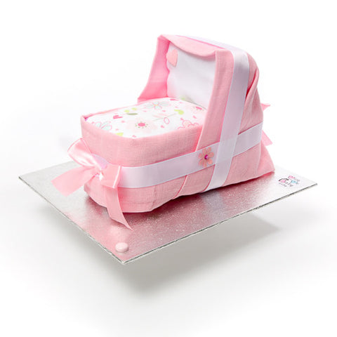 Nappy cake-mini cradle for a girl