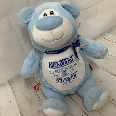 Personalised Blue Bear Soft Toy Keepsake Gift