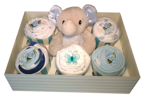 Clothing Cupcakes -Elephant comforter- Blue - 6 pack